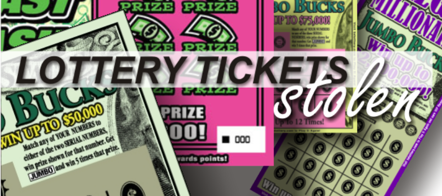 Surveillance footage shows man stealing $500 lottery tickets