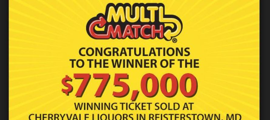 Someone in Reisterstown won $775,000