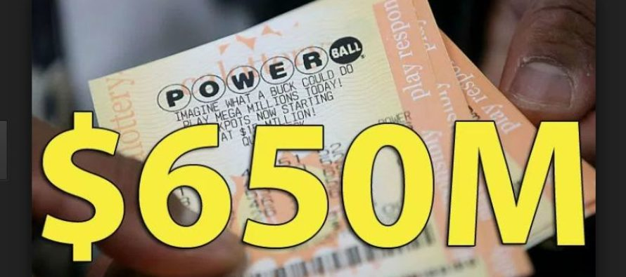 No one hits the Powerball jackpot, rises to $650 million